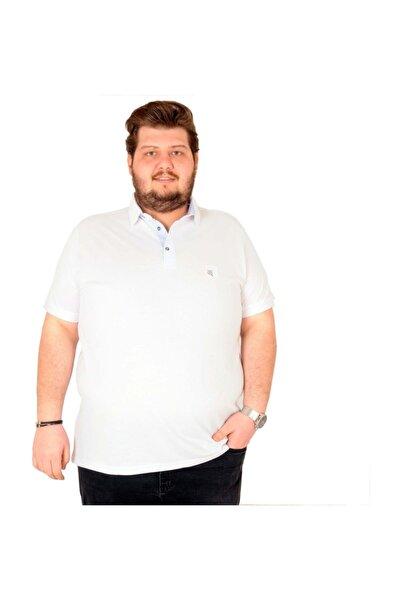 T-shirt Polo Yaka Nakışlı Klasik Pike 18553 Beyaz