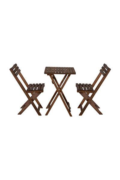 Gürgen Ceviz Renk 50x50 Katlanır Masa Ve 2 Adet Katlanır Sandalye Set