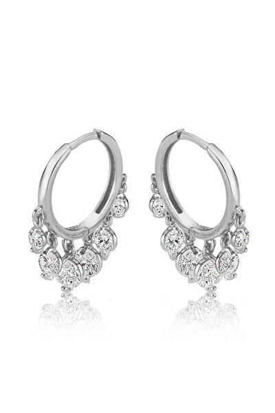 Kadın Gümüş Beyaz Taşlı Şakira Küpe EA1160145