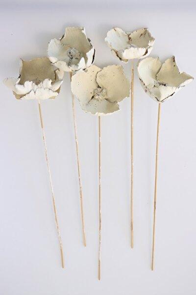Kuru Çiçek 5Li Palm Cap Demeti 45 Cm Palm Cup Çiçeği Retro Ekru