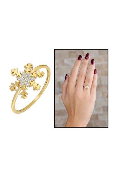 Zirkon Taşlı Kar Tanesi Tasarım Gold Renk 925 Ayar Gümüş Bayan Yüzük