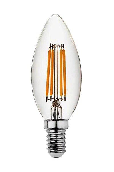 E14 Düz Mum Sarı 4 Watt  Filament Edison Tip Rustik Ampul Led Ampul