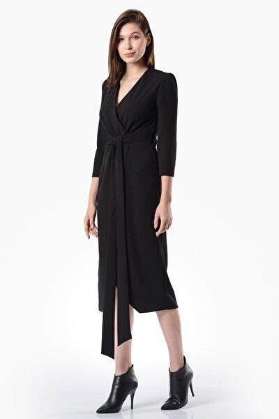 Kadın Siyah Kruvaze Yırtmaçlı  Elbise 5322-1202