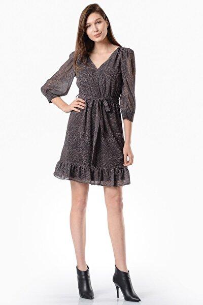 Kadın Siyah Eteği Fırfırlı Siyah Şifon Elbise 5304-1338
