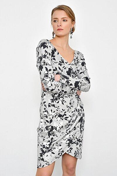 Kadın Gri Varak Çiçek Baskılı Elbise HN2349