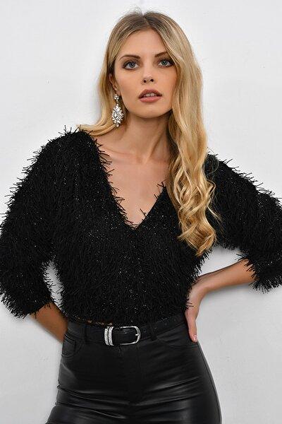 Kadın Siyah Sakallı Mini Bluz BK934