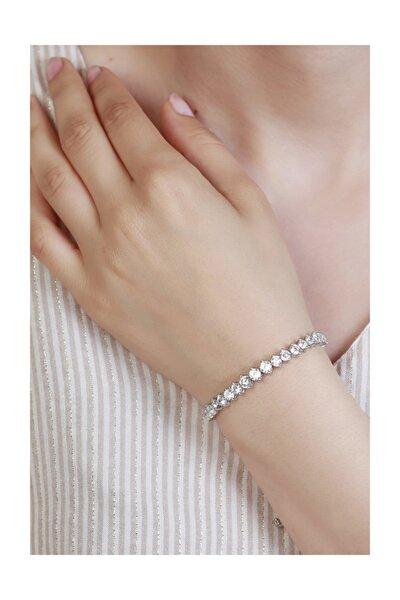 Beyaz Taşlı Asansörlü Gümüş Bileklik