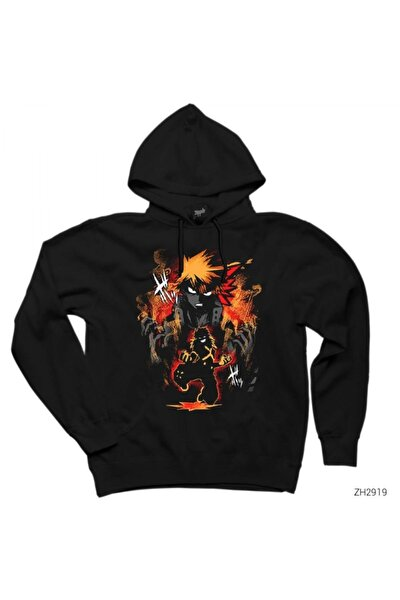 My Hero Academy Katsuki Siyah Kapşonlu Sweatshirt / Hoodie