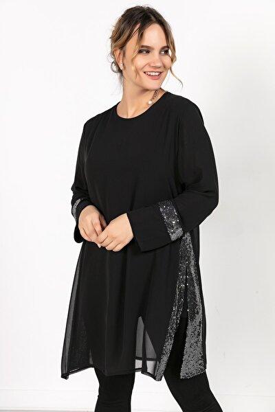 Kadın Siyah Kollari Eteği Pullu Üstü Şifon  Büyük Beden Tunik  S-20K2570002