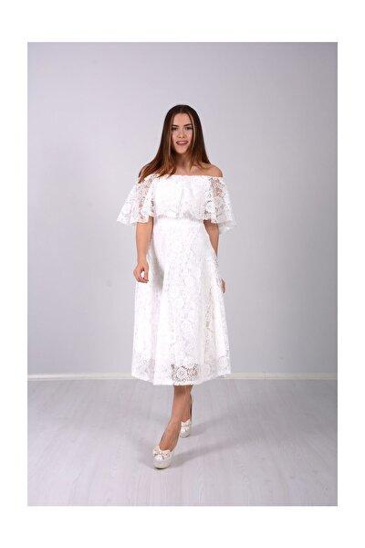 Kadın Beyaz Full Dantel Volanlı Elbise  GYM-0597-D_BYZ