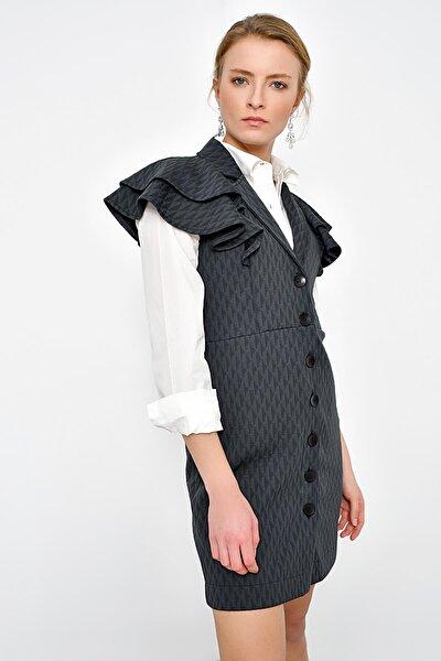Kadın Gri Kollari Volanlı Düğmeli Elbise HN2366