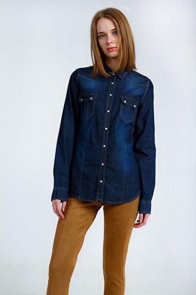 Kadın Koyu Mavi Gömlek Sestav UCB540769A57