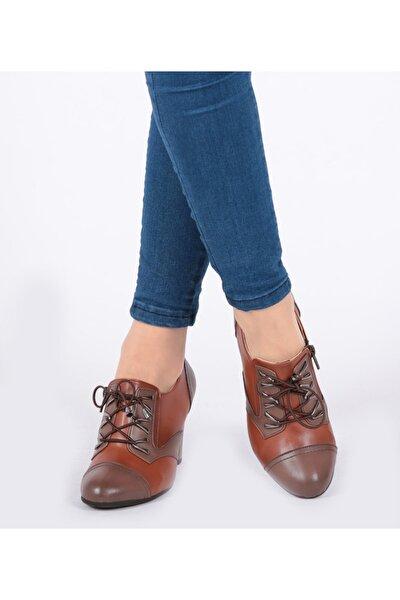 Fermuar Ve Bağcıklı Taba Renk Kadın Ayakkabı