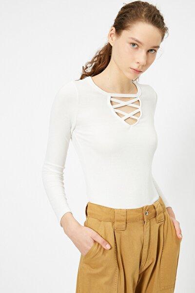 Kadın Ekru T-Shirt 0YAL18176OK