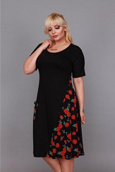 Kadın Siyah Kırmızı Karanfil Yazlık Büyük Beden Kısa Kol Dizaltı Cepli Viskon Penye Elbise