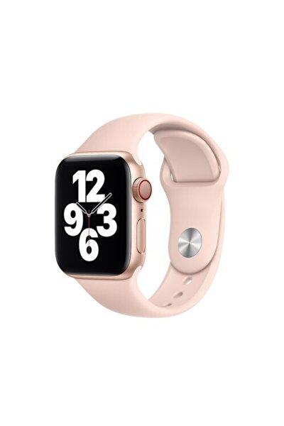 Apple Watch 2 3 4 5 6 Se 38mm - 40 Mm Spor Kordon Silikon Kayış Kum Pembesi S/m Beden