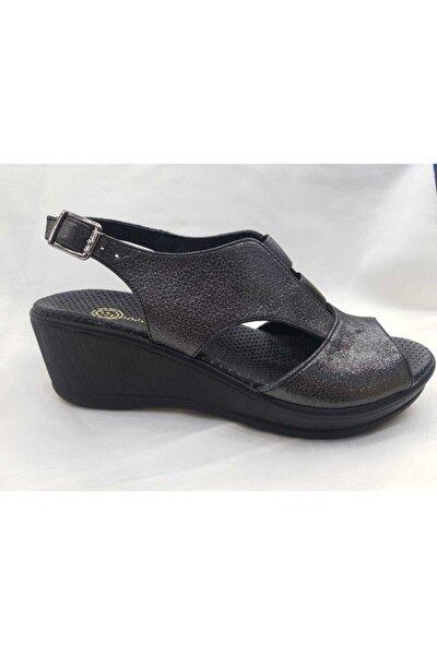 Kadın Çelik Hakiki Deri Dolgu Topuklu Sandalet