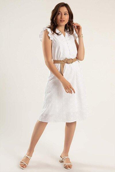 Kadın Çiçekli Fırfırlı Elbise Y20s110-1940