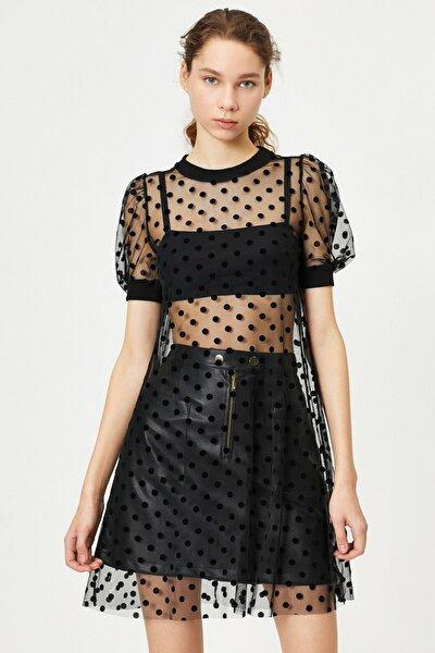 Kadın Siyah Tül Detayli Elbise