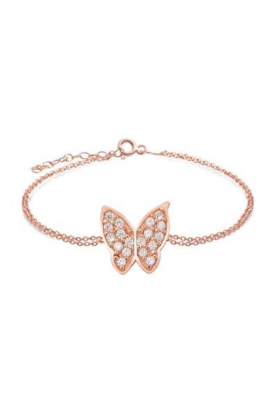 Gümüş Zirkon Taşlı,  Kelebek Tasarım  Bileklik