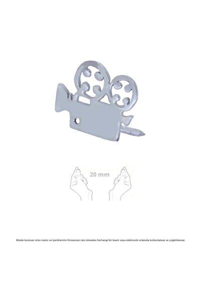 Sinema Kamera Figürlü Gümüş Broş Rozet
