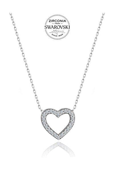 Swarovski Taşlı Kalp Gümüş Kolye