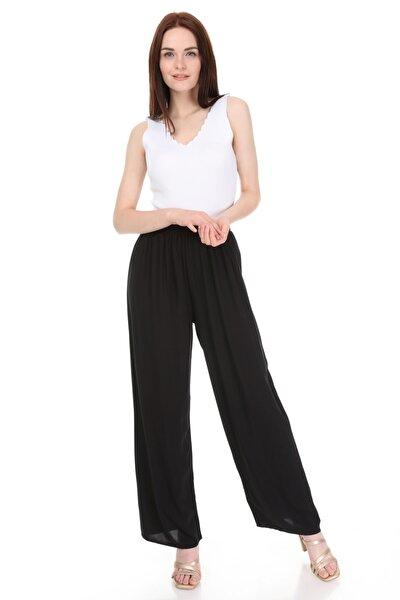 Kadın Siyah Beli Lastikli Dokuma Bol Pantolon