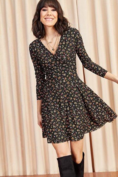 Kadın Siyah Çiçekli Kruvaze Elbise ELB-19000962