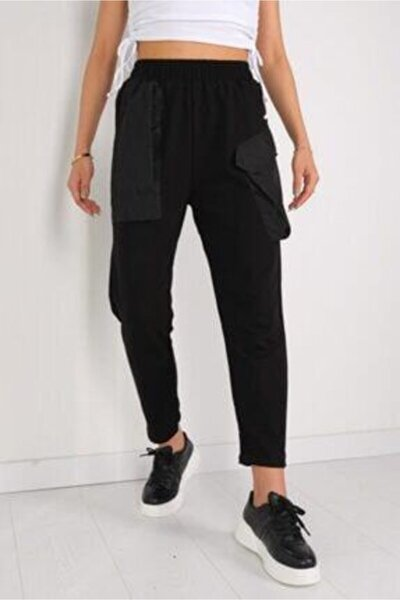 Kadın Siyah Cep Detaylı Lastikli Şalvar Eşofman Altı
