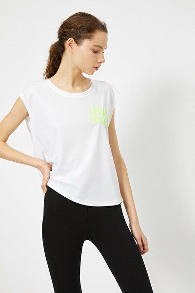Kadın Beyaz YazIı Baskılı Tişört 0YAK12194NK