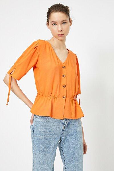 Kadın Turuncu Dügme Detayli Bluz 0YAL68363IW