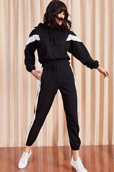 Kadın Siyah Renk Bloklu Eşofman Takımı TKM-19000040