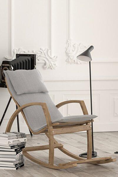 Vezir Ahşap Sallanan Sandalye Dinlenme Koltuğu Gri