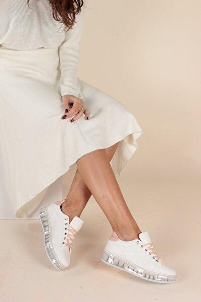 Beyaz Pembe Kadın Yürüyüş Ayakkabısı Y1155