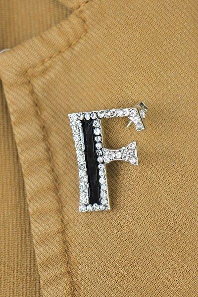 F Harfli Taşlı Broş