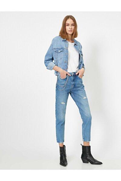 Kadın Mavi Jogger Jean Pantolon 0YAK47065MD