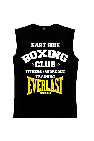 Boks Kulübü Siyah Kesik Kol   Kolsuz Erkek T-shirt   Atlet