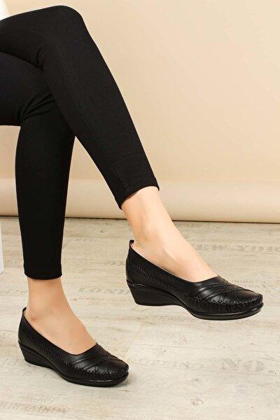 Hakiki Deri Ortopedik Siyah Kadın Ayakkabı