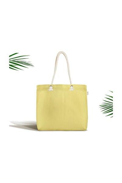 Sarı Renkli Dijital Baskılı Fermuarlı Modern Kumaş Çanta Canta-961