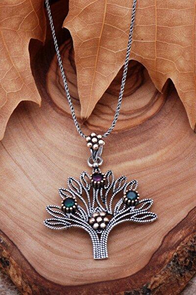 Hayat Ağacı Telkari Işlmeli Gümüş Kolye 6762