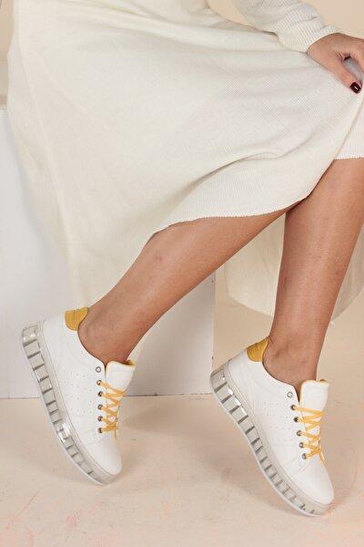 Beyaz Hardal Kadın Yürüyüş Ayakkabısı Y1155
