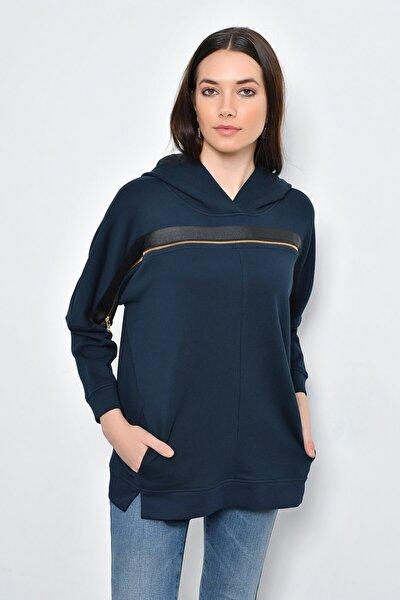 Kadın Lacivert Kapüşonlu Fermuarlı Sweatshirt HN2209
