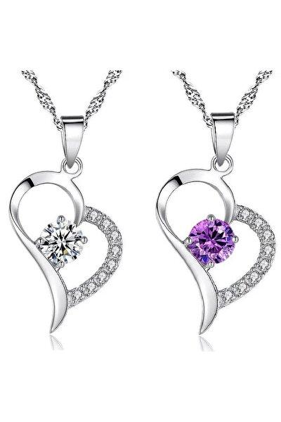 Gümüş Zirkon Taşlı Bayan Kalp Gümüş Kolye