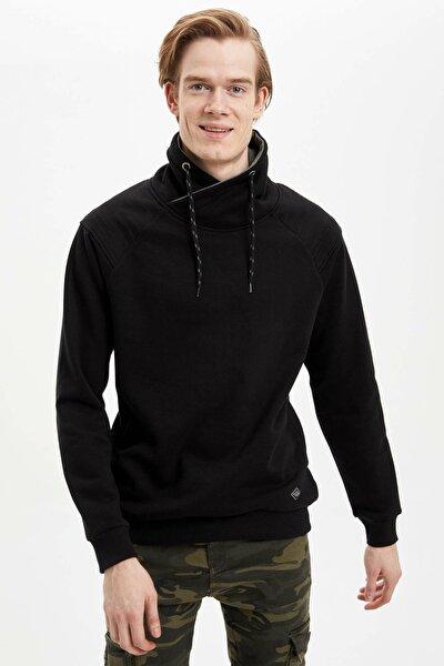 Erkek Siyah Slim Fit Sweatshirt N4760AZ.20SP.BK27