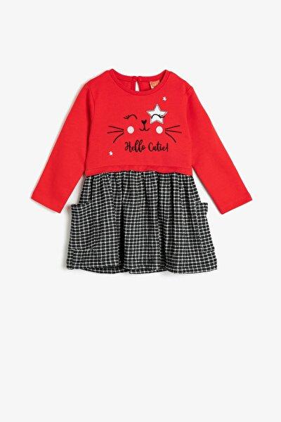 Kız Bebek Kırmızı Kareli Elbise 0YMG89226ZK