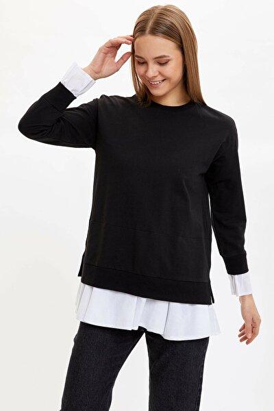 Kadın Siyah Relax Fit Etek Ucu Tül Detaylı Basic Tunik N8762AZ.20SP.BK27