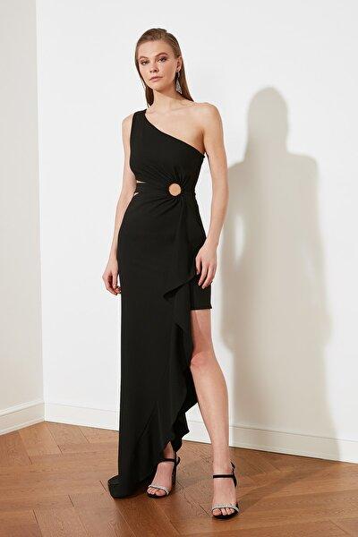 Siyah Bel Detaylı Abiye & Mezuniyet Elbisesi TPRSS21AE0134