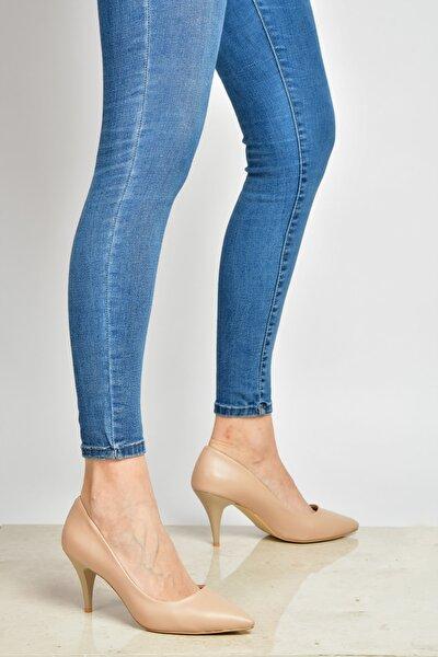 Bej Kadın Topuklu Ayakkabı 18Y 11905