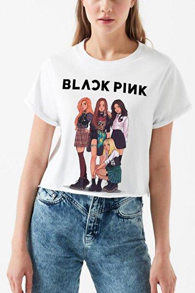 Kadın Beyaz Blackpink Anime Crop Top Tişört