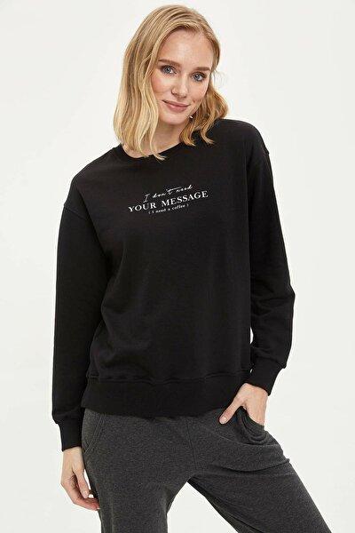 Kadın Siyah Baskılı Sweatshirt N4282AZ.20SP.BK27